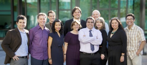 Project 3 (a.k.a. the Market Makeovers crew): Front row (left to right): Brent Langellier, Mike Blockstein, Reanne Estrada, Debra Glik, Alex Ortega, Heather Hammer, Rosa-Elena Garcia, Jeremiah Garza; Back row: Ron Brookmeyer, Nathan Cheng, Mike Prelip. Courtesy Public Matters, LLC.