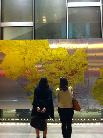 Installation of the map outside of LAPD headquarters. Suzanne Lacy, Three Weeks in January, 2012.