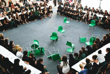 Ultra-red with Year 9 students at the St Marylebone C. E. School RE:ASSEMBLY: Civis Sum 2009  Photography: Mark Blower