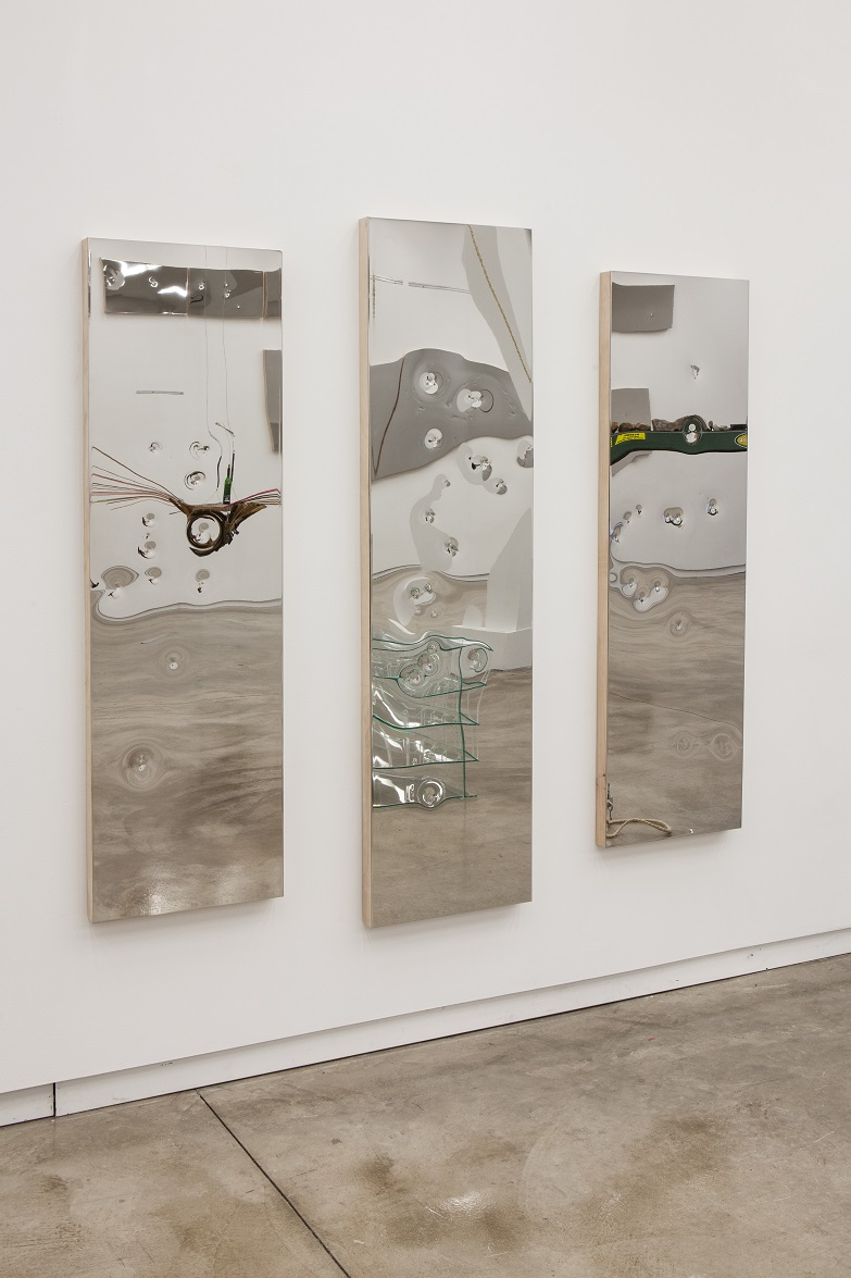 Now Do I Repay A Period Won (Athens), 2014; Polished steel, wood, foam; 2: 60 x 18 in., 1: 68 x 18 in.; 68 x 72 in. overall